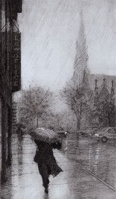 A Woman With Umbrella Intaglio Printmaking, Arte Black, Drypoint Etching, Etching Prints, Rain Art, Encaustic Painting, Painting Art, Art Plastique, White Art