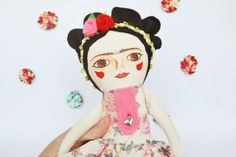 Frida Kahlo doll cloth doll Handmade stuffed by MandarinasDeTela