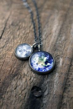 Earth and Moon Galaxy Space Necklace - Antique Silver or Bronze - Petite Solar System Astronomy Necklace