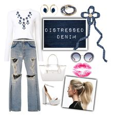 """""""Distressed Denim Outfit"""" by hollybgdesigns ❤ liked on Polyvore featuring Jonathan Simkhai, Proenza Schouler, Dorothy Perkins, Boohoo, Stone Rose, Marni, Coach, Miu Miu, Lizzy James and distresseddenim"""