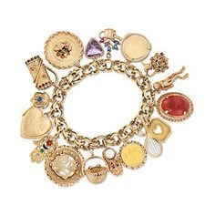 """C. 1980. Get charmed with this eclectic and tasteful Estate creation, boasting a wide array of unique charms on a link bracelet. In 14kt yellow gold, the charms include a basket with red glass, heart with blue synthetic spinel, heart locket, hamsa hand with enamel, """"happy anniversary"""" disc, classic basket, shoe with 6.9mm cultured pearl and .10 ct. t.w. sapphires, tennis racket with diamond accent, cutout heart, oval carnelian, scuba diver, jug with red coral, disc, flower pot with…"""
