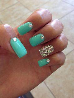 Nail idea. Tiffany blue with rhinestones.