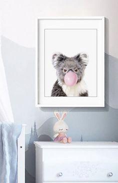 Baby Koala Bear blowing a pink bubble gum Print, Printable art, Nursery Decor, Animal Wall Art, Baby Shower Gift, Kids Room Art, Baby Shower Gift,