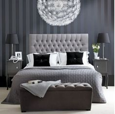 Bedroom design ideas for young couples, shades of black and white combination, impressed with the color of the wallpaper around, very nice