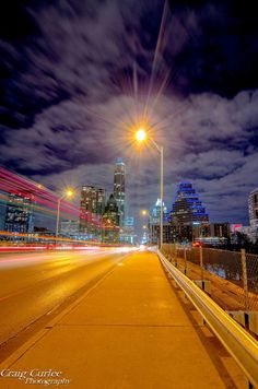 Looking Across the Bridge Towards Evening Lights of Downtown Austin, Texas . . . Amazing !! ♥༻