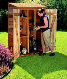 A small garden shed provides a storage space as well as a small work space. Building a small garden shed takes some pre-planning. Garden sheds can be built on a wood subfloor or concrete foundation and are easy to build and very affordable. Storage Sheds For Sale, Storage Shed Kits, Garden Tool Storage, Small Storage, Storage Ideas, Organization Ideas, Diy Storage, Outdoor Storage, Small Garden Tool Shed