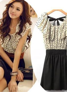 Trendy Black and White Polka Dotted Day Dress