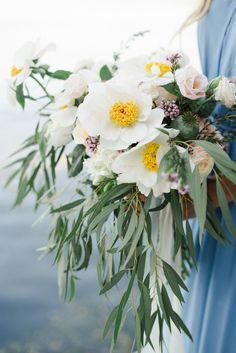 Sapphire Boho Wedding Ideas by Christie Graham on Wedding Sparrow Ivory Wedding Flowers, Wedding Ceremony Flowers, Spring Wedding Flowers, Botanical Wedding, Floral Wedding, Wedding Bouquets, Seaside Wedding, Bouquet Bride, Yellow Bouquets