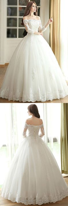Ball Gown Wedding Dresses Off-the-shoulder Bridal Gowns,  Lace Bridal Dresses, 3/4 Sleeve Wedding Dresses, Modest White Long Wedding Dresses