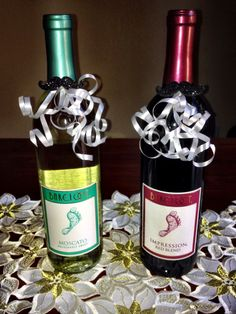 Mustache themed baby shower game wine bottle prizes