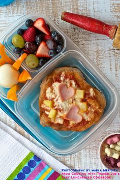 This is my recipe in the Cooking with Trader Joes - Easy Lunchbox Cookbook!  Lunchbox Hawaiian Pizza. photography MarlaMeridith.com