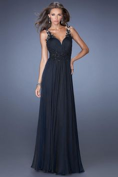 2014 V Neck Prom Dress A Line Floor Length With Applique Pick Up Chiffon Skirt
