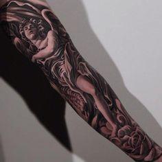 full sleeve angel tattoo