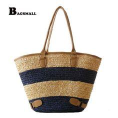 BAGSMALL Brand Knitted Straw Bag Summer Holiday Lady Woven Beach Bag For  Travel Striped Pattern Women HandbagGirl Shoulder Bag f961bb3cea3f1