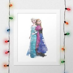 ANNA ELSA PRINT, Disney, Princess Anna, Anna, Queen Elsa, Elsa, Frozen, Anna Elsa Frozen, Watercolor, Nursery, Wall Art, Digital Print by xNoxyArt