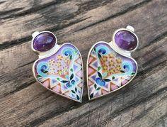 Enamel Jewelry, Silver Jewelry, Modern Georgian, Beautiful Earrings, Handcrafted Jewelry, Silver Earrings, Floral Design, Amethyst, Purple