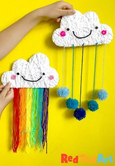 Yarn Wrapped Cloud Rainbows & Pom Poms - Red Ted Art - Make crafting with kids easy & fun