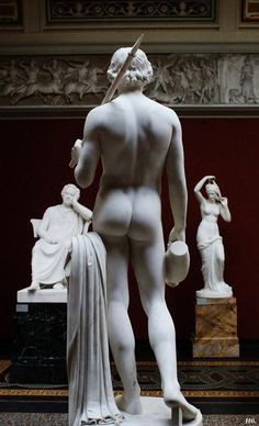 Rear view. Hylas. 1846. H.W.Bissen. -- In classical mythology, Hylas was a youth who served as a companion of Heracles (Roman Hercules). His abduction by water nymphs was a theme of ancient art