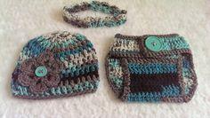 Crochet girl hat, diaper cover and headband set by NissCrochetingShop on Etsy
