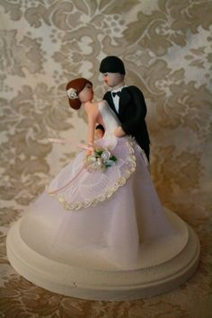 6 Romantic Dip Bride and Groom Cake topper customized to your features on a 6 base