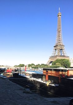 """This is the barge """"Orion"""" that we rented during the research phase of writing THAT SPRING IN PARIS...we lived in the pilothouse and the small stateroom in the lower stern...fabulous experience!"""