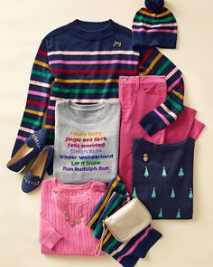 This holiday, think pink! Happy colors and festive stripes have arrived. | Talbots Winter 2020