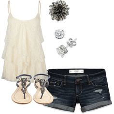 White ruffled top, jean shorts, jeweled sandals, diamond studs and pretty hair flower.