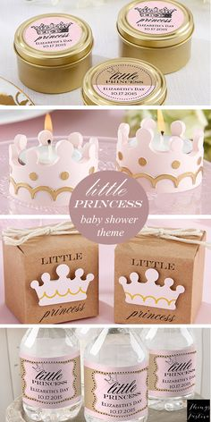 A Little Princess themed baby shower will welcome the new baby girl in royal style.  Soft pink and gold colors with crown decor is so cute and enchanting. #BabyShowerIdeas
