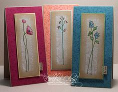 Oh So Lovely Trio by debbiedesigns - Cards and Paper Crafts at Splitcoaststampers Flower Stamp, Flower Cards, Cool Cards, Diy Cards, Card Making Inspiration, Making Ideas, Paint Chip Cards, Long Stem Flowers, Animal Cards