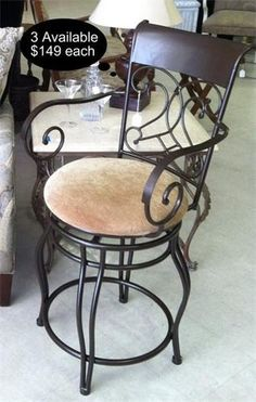 Rich Tuscan inspired wrought iron 29 inch bar stools. Chenille upholstery accents the 3 bar stools that are available.  Yesterdays Treasures Consignment  1185 Second Street Suite H  Brentwood  925 - 516 - 8549  www.Yesterdayststore.com  Info@yesterdayststore.com