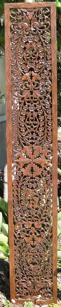 Floral Teak Wood Panel