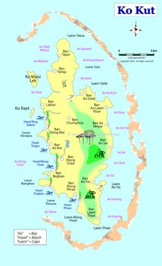ko kut thailand diving | Travel map of Koh Kut, Koh Kood in Gulf of Thailand