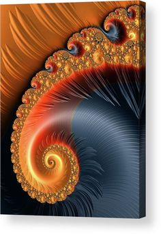 Fractal Spiral with warm orange tones Acrylic Print for sale. The image gets printed directly onto the back of a sheet of clear acrylic. The image is the art - it doesn't get any cleaner than that! Matthias Hauser - Art for your Home Decor and Interior Design.