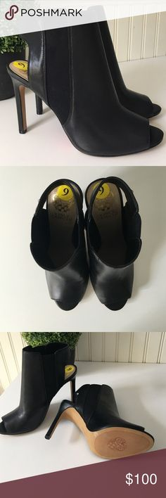 "Stunning Vince Camuto Peep Toe Booties Leatherette/textile upper in black. Man-made lining/sole. 4"" heel. Peep toe. Strap it back. Size 9M. NWOT. Vince Camuto Shoes Ankle Boots & Booties"