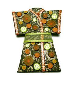 Black Kimono Polymer Clay Pin Handmade Brooch by SweetchildJewelry, $15.00