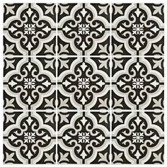 "$2.09 / sq ft - EliteTile Lima 8"" x 8"" Ceramic Tile in Classic White and Charcoal Grey"