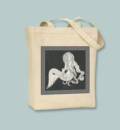 Vintage Celtic Mermaid Natural or Black Canvas Tote  by Whimsybags