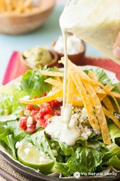 Homemade Creamy Tomatillo Ranch Dressing Recipe - no ranch packet, Coke or brown sugar. Just good, healthy and simple ingredients. Make Cafe Rio at home.