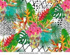 Seamless summer tropical pattern with skulls, palm leaves and exotic flowers vector background. Perfect for wallpapers, pattern fills, web page backgrounds, surface textures, textile