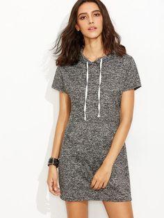 grey drawstring hoodie sweatshirt dress, dress with pockets, casual grey trendy hooded dress - Lyfie
