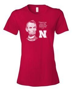 "Women's Abe Lincoln ""No place like NEBRASKA"" Huskers Tee Shirt"