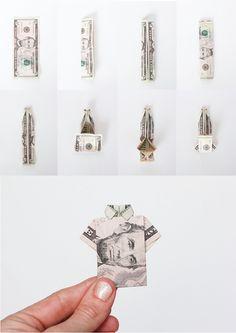 Money Origami Shirt Birthday Cards