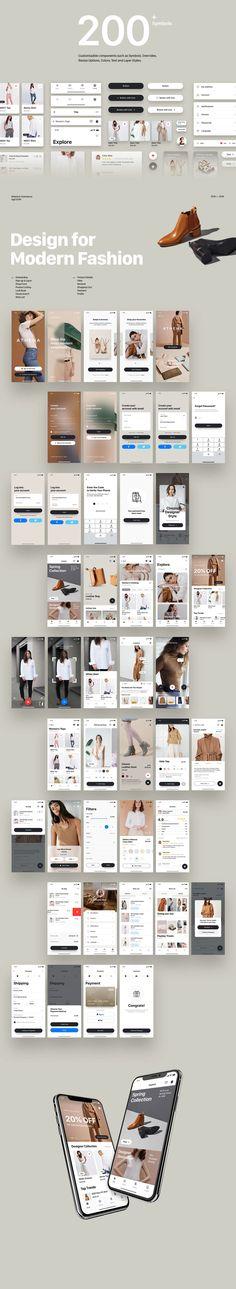 Athena | Fashion E-commerce iOS App UI Kit on Behance Ui Kit, Ios App, Mobile App, Ecommerce, Ui Design, Behance, Fashion, Moda, Fashion Styles