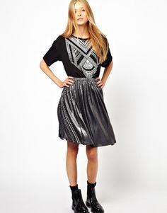 Image 1 ofMonki Mini Pleat Metallic Skirt