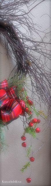 wispy twig wreath with jingle bells