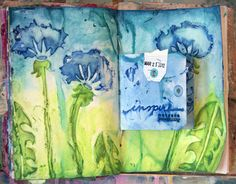 Donna Downey's Inspiration Wednesday-Altered Book-Gouache paint, PanPastel, modeling paste and versamark-And a video tut.