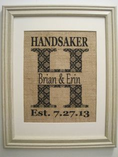 Burlap Monogram Burlap Print Burlap Wedding Art by SunBeamSigns, $21.00