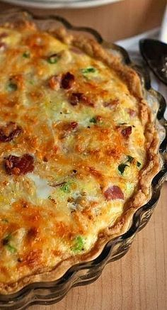 Quiche loaded with ham, bacon, sausage and cheese in a tender, flaky crust. A perfect breakfast for a birthday, or breakfast, lunch or dinner any day of the wee