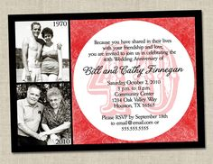 40th Anniversary Invitation - Ruby Red Wedding Anniversary Party Invite (Printable Digital File). $16.00, via Etsy.