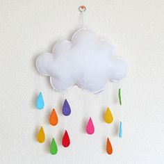 Gorgeous cloud and rainbow raindrops baby crib by Lovelygiftforkid, $35.00